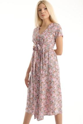 MD trend Kadın Pembe Çiçek Desenli Kuşaklı Gömlek Elbise Mdt6795 1