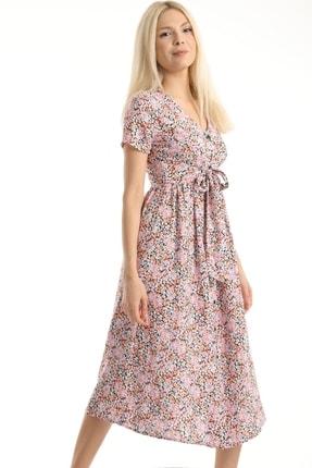 MD trend Kadın Pembe Çiçek Desenli Kuşaklı Gömlek Elbise Mdt6795 2