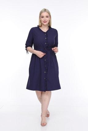 تصویر از Kadın Büyük Beden Fırfırlı Düğmeli Truvakar Kol Elbise Lacivert