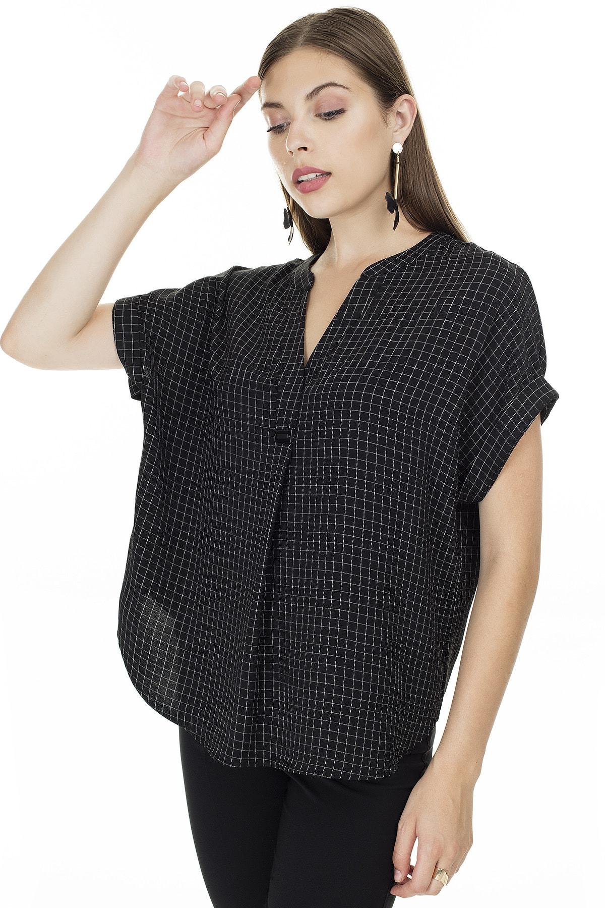Ayhan Siyah-Ekru Kareli V Yaka Bluz Kadın Bluz 04681405 3