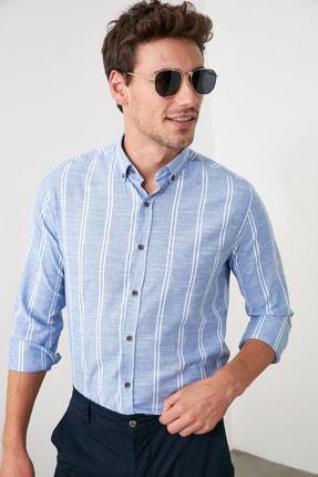 TRENDYOL MAN Saks Erkek Düğmeli Yaka İnce Çizgili Slim Fit Gömlek TMNSS20GO0092 0