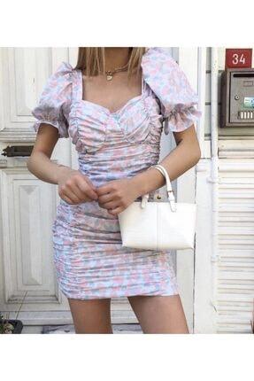 Cermen Desing Kadın Gri Balon Kollu Büzgülü Mini Elbise 3
