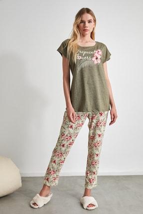 TRENDYOLMİLLA Çiçek Desenli Örme Pijama Takımı THMSS20PT0083 0