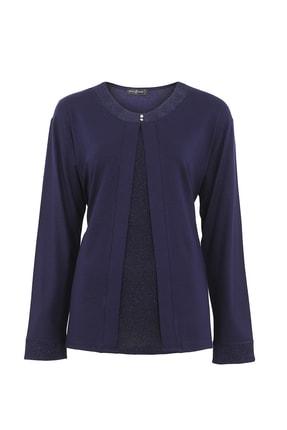 Butik Triko Kadın Lacivert Simli Takım Görünümlü Penye Bluz 3689 0