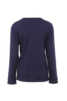 Butik Triko Kadın Lacivert Simli Takım Görünümlü Penye Bluz 3689 1