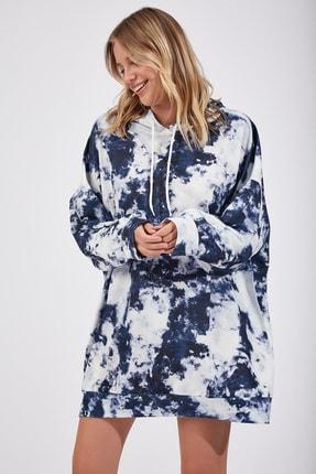 Happiness İst. Kadın İndigo Mavi Desenli Oversize Sweat Elbise  DD00511 1