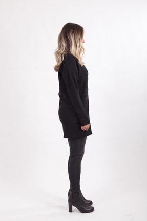 diezbutik Kadın Siyah Düğmeli Uzun Hırka 1
