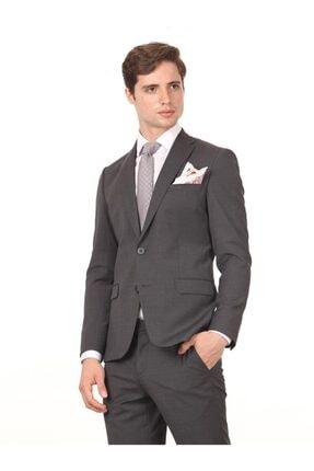 Antrasit Düz Dokuma Takım Elbise KP10114084 resmi