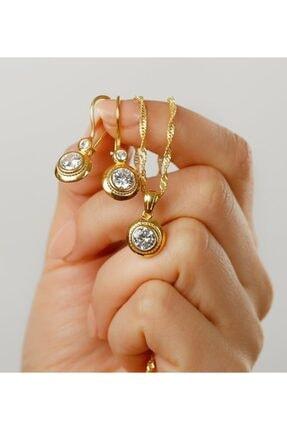 Gümüşistan 925 Ayar Gümüş Altın Kaplama Tektaşlı Trend Takı Seti 1