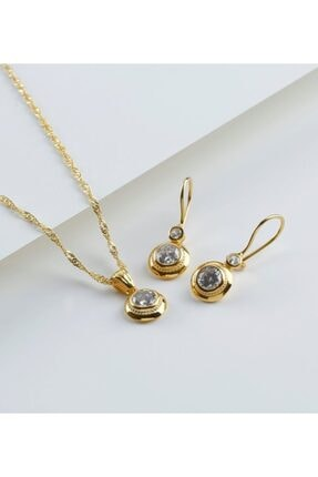 Gümüşistan 925 Ayar Gümüş Altın Kaplama Tektaşlı Trend Takı Seti 2