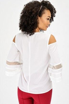 Jument Kadın Krem V Yaka Tül Detaylı Capri Kol Şık Ofis Bluz  20132 1