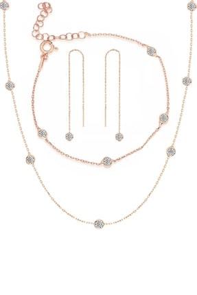 Trend Silver Gümüş Rose Zirkon Taşlı Tiffany Set Sıra Taşlı Takım Seti 0