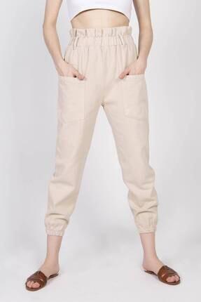 Addax Kadın Bej Cep Detaylı Pantolon PN4139 1