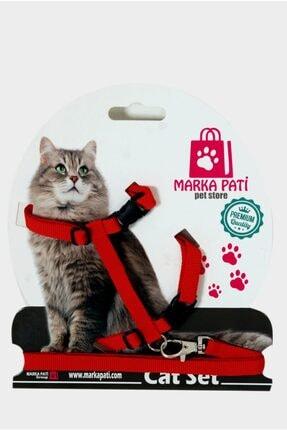 Marka Pati Kedi Göğüs Tasma Seti Kırmızı 0