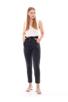 modamevsim Kadın Gri Lastikli Denim Pantolon 1