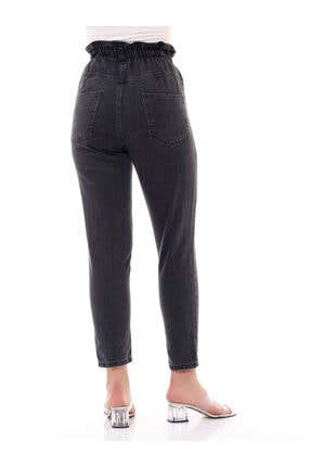 modamevsim Kadın Gri Lastikli Denim Pantolon 2