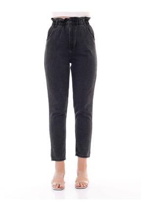 modamevsim Kadın Gri Lastikli Denim Pantolon 3