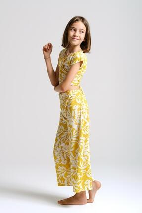 Linda&Mila Kız Çocuk Sarı Çiçek Desenli Bol Pantolon 1