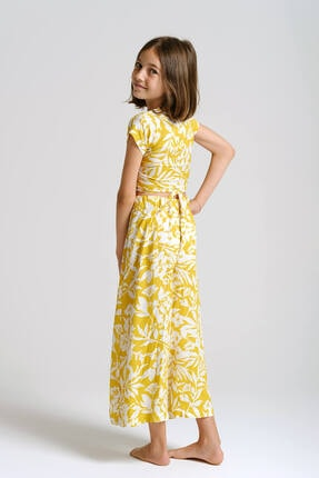 Linda&Mila Kız Çocuk Sarı Çiçek Desenli Bol Pantolon 2