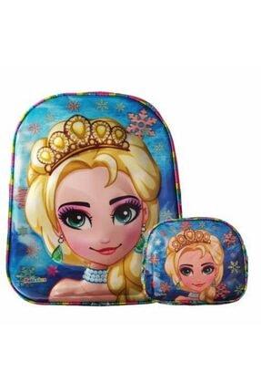 Mashotrend 7d Frozen Elsa Baskılı 3 Gözlü Okul Çantası + Beslenme Çantası + Suluk + 5 Maske + Kolonya Hediyeli 1