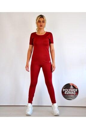 bayansepeti Içi Polimer Kaplama Zayıflatan Bordo T-shirt Termal Korse Içlik Takım T-shirt Ve Uzun Tayt Takım 0