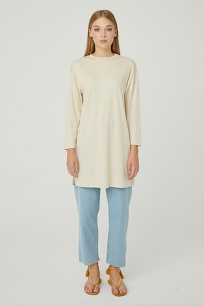 Hooopstore Kadın Krem Peru Pamuk Uzun Kol Basic Sweatshirt 0