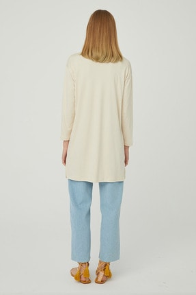 Hooopstore Kadın Krem Peru Pamuk Uzun Kol Basic Sweatshirt 2