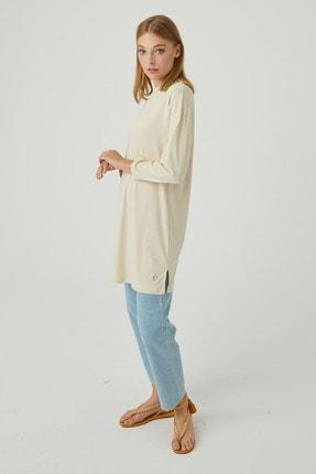 Hooopstore Kadın Krem Peru Pamuk Uzun Kol Basic Sweatshirt 3