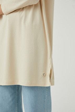 Hooopstore Kadın Krem Peru Pamuk Uzun Kol Basic Sweatshirt 4