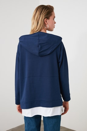 TRENDYOLMİLLA Mavi Kapüşonlu Basic Örme Sweatshirt TWOAW20SW0382 3
