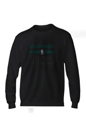 Fanatico Siyah Milwaukee Bucks Basic Sweatshirt 0