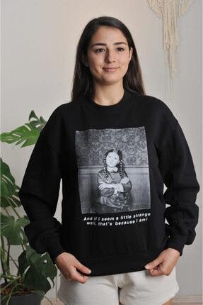 çokomel butik Kadın Siyah Önü  Baskılı Sweatshirt 1