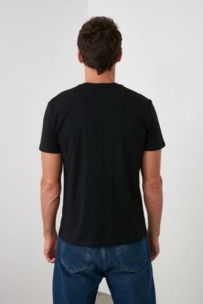 TRENDYOL MAN Siyah Erkek Basic Pamuklu Kısa Kollu Bisiklet Yaka  Slim Fit T-Shirt - TMNSS19BO0001 4