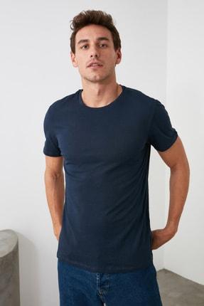 TRENDYOL MAN Lacivert Erkek Basic Pamuklu Kısa Kollu Bisiklet Yaka  Slim Fit T-Shirt - TMNSS19BO0001 1