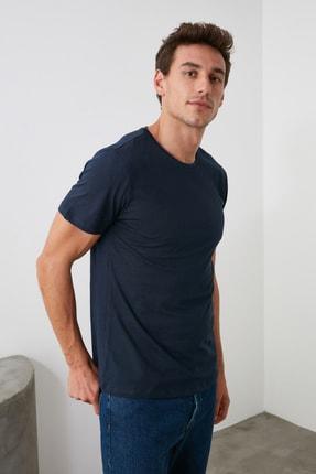 TRENDYOL MAN Lacivert Erkek Basic Pamuklu Kısa Kollu Bisiklet Yaka  Slim Fit T-Shirt - TMNSS19BO0001 2