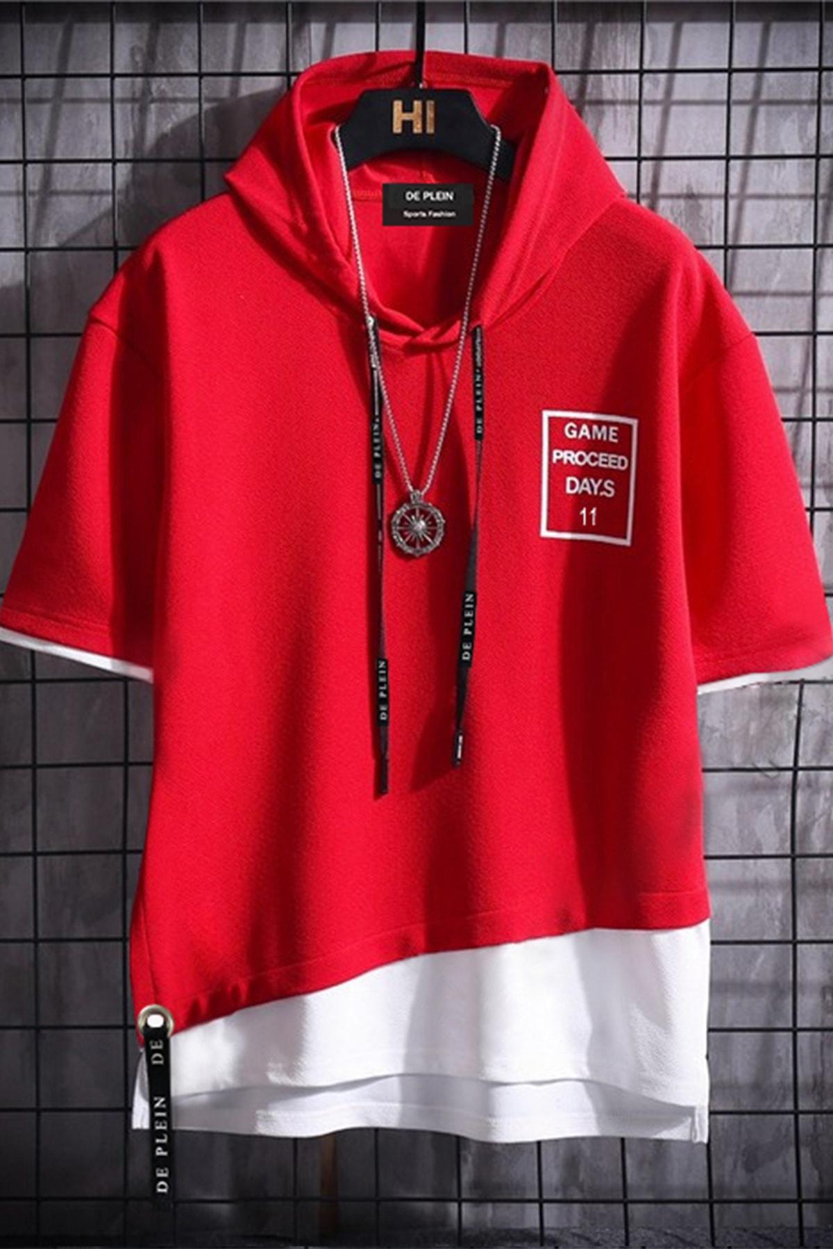 Unisex Kırmızı Oversize Kapüşonlu % 100 Pamuk T-shirt