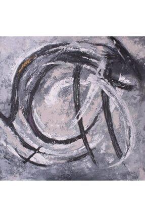 TabloPlus Siyah Beyaz Fırtına Yağlı Boya Dokulu Tablo 120cm X 120cm Gold 1