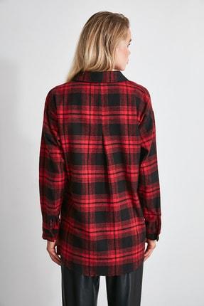 TRENDYOLMİLLA Bordo Ekose Ceket Gömlek TWOAW20GO0139 2