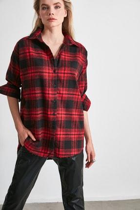 TRENDYOLMİLLA Bordo Ekose Ceket Gömlek TWOAW20GO0139 3