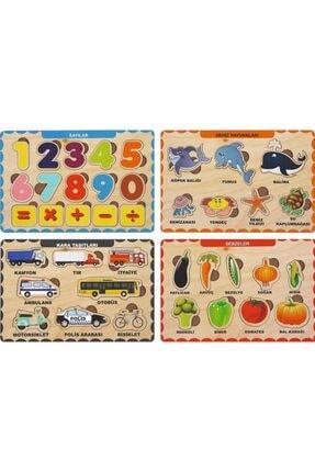 MAKETÇİNİZ 4 Adet Ahşap Bul Tak Eğitici Yapboz Puzzle Seti 2 0
