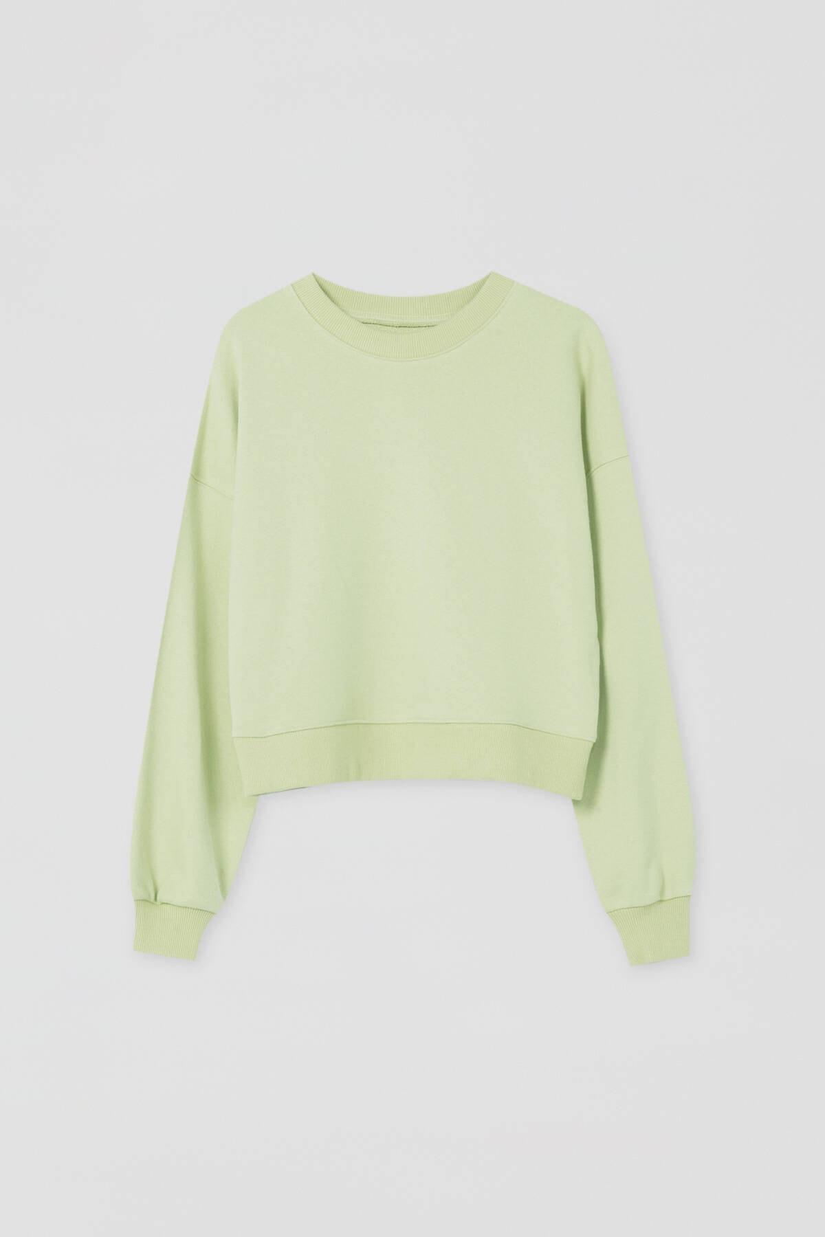 Pull & Bear Kadın Açık Fıstık Yeşilli Renkli Bisiklet Yaka Sweatshirt 09594311 4