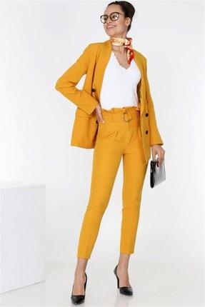 TEORA FASHION Boyfrıend Ceket Kemerli Pantolon Takım 3