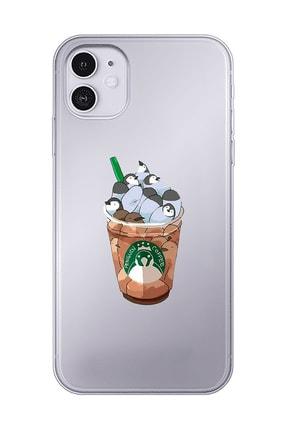 Mupity Penguen Kahve Tasarımlı Iphone 11 Şeffaf Telefon Kılıfı 0