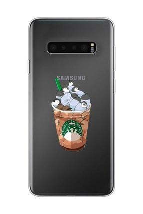 Mupity Penguen Kahve Tasarımlı Samsung S10 Şeffaf Telefon Kılıfı 0