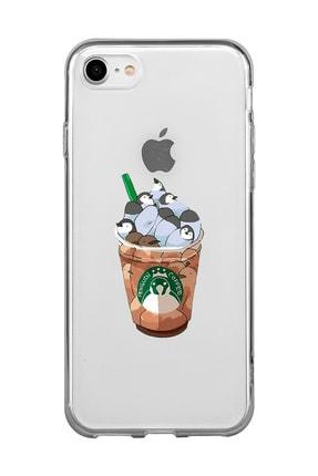 Mupity Penguen Kahve Tasarımlı Iphone 7-8-se 2020 Şeffaf Telefon Kılıfı 0