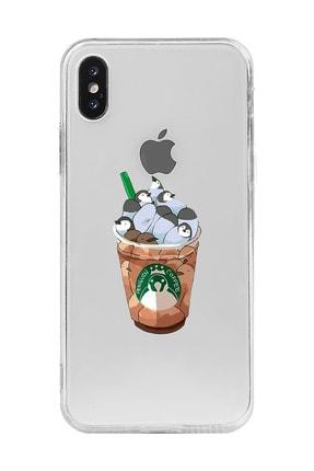 Mupity Penguen Kahve Tasarımlı Iphone X Şeffaf Telefon Kılıfı 0