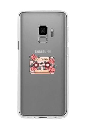 Mupity Çiçekli Kaset Tasarımlı Samsung S9 Şeffaf Telefon Kılıfı 0