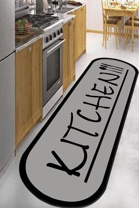 RISSE Dijital Baskılı Kaymaz Taban Yıkanabilir Kitchen Yazılı Mutfak Halısı 80 x 350 0