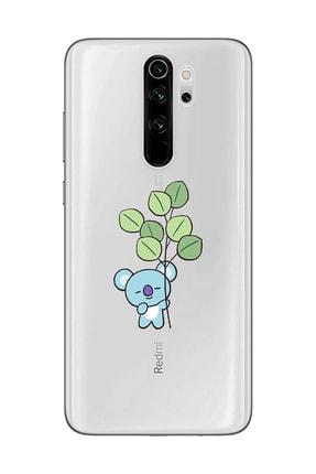 Mupity Red Mi Note 8 Pro Yapraklı Koala Tasarımlı Şeffaf Telefon Kılıfı 0