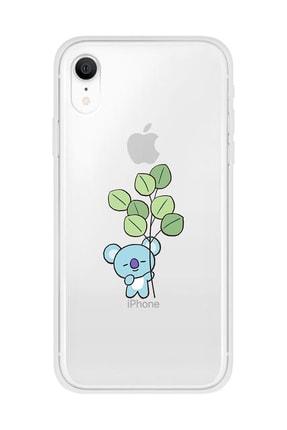 Mupity Yapraklı Koala Tasarımlı Iphone Xr Şeffaf Telefon Kılıfı 0